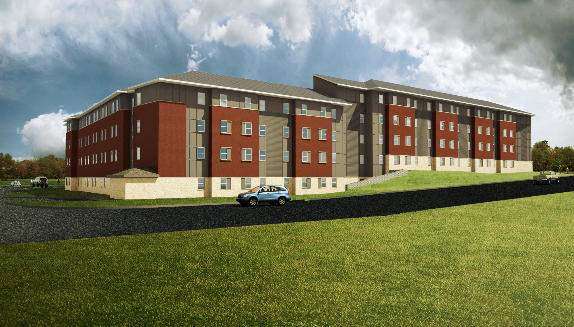 Blinn residence hall back rendering
