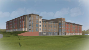 Blinn College Residence Hall Front of Building Rendering