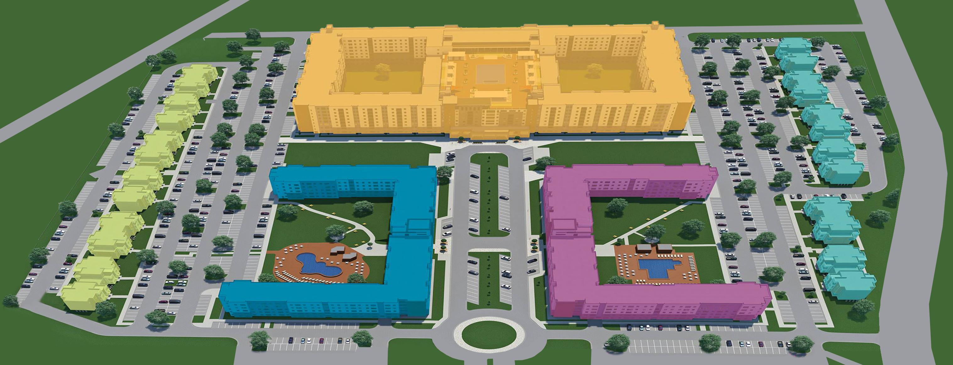 Park West student housing site plan rendering