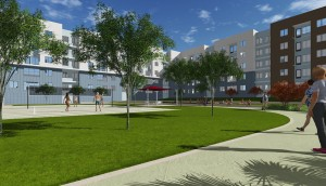 Courtyard-Volleyball-Rendering-1 TAMU-Student-Housing